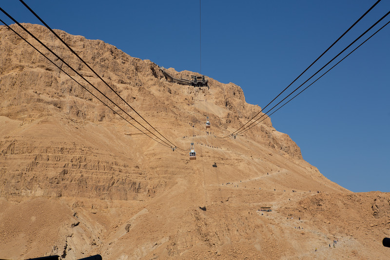 Cable cars from visitor center to Masade. Snake path visible below and to the right of the cable cars.