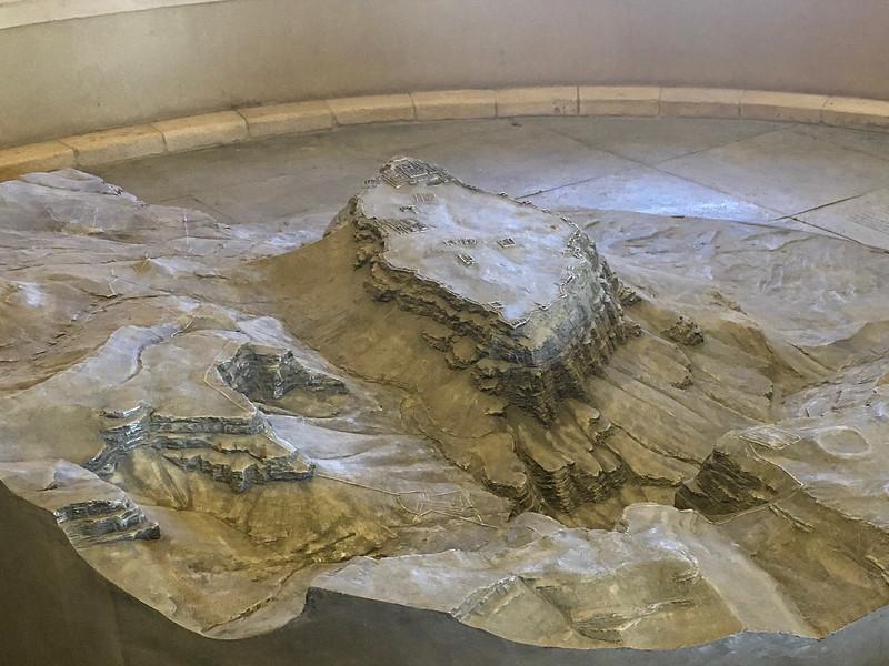 Close up of model of Masada