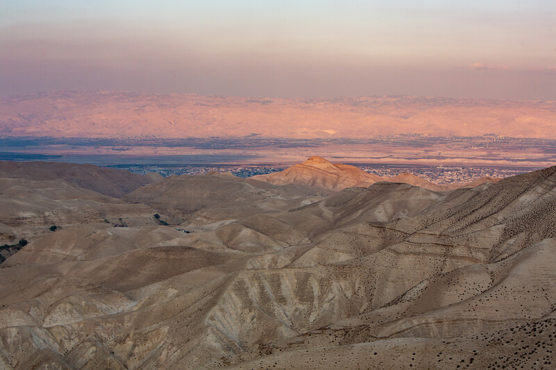 The Jordan river in the distance from Wadi Qelt in the Judean wilderness