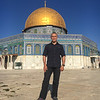 "In front of the Dome of the Rock on the temple mount - traditional location of Abraham's (non) sacrifice of Isaac and Mohammed's Night Journey to ""the farthest mosque"""