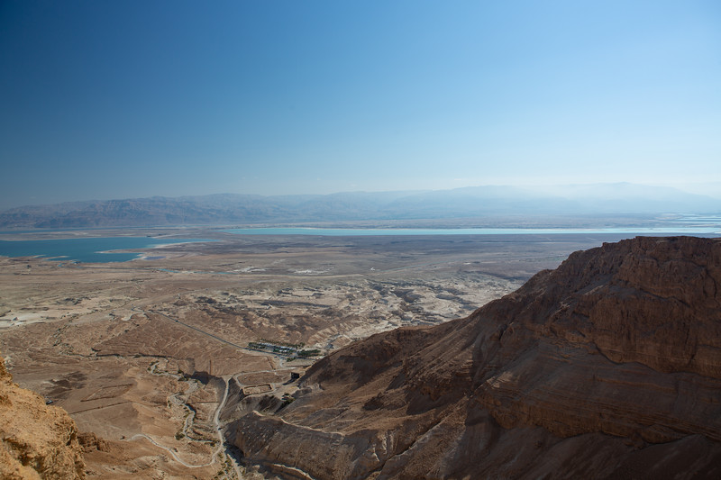 View from the southern end of Masada looking east to the Dead Sea