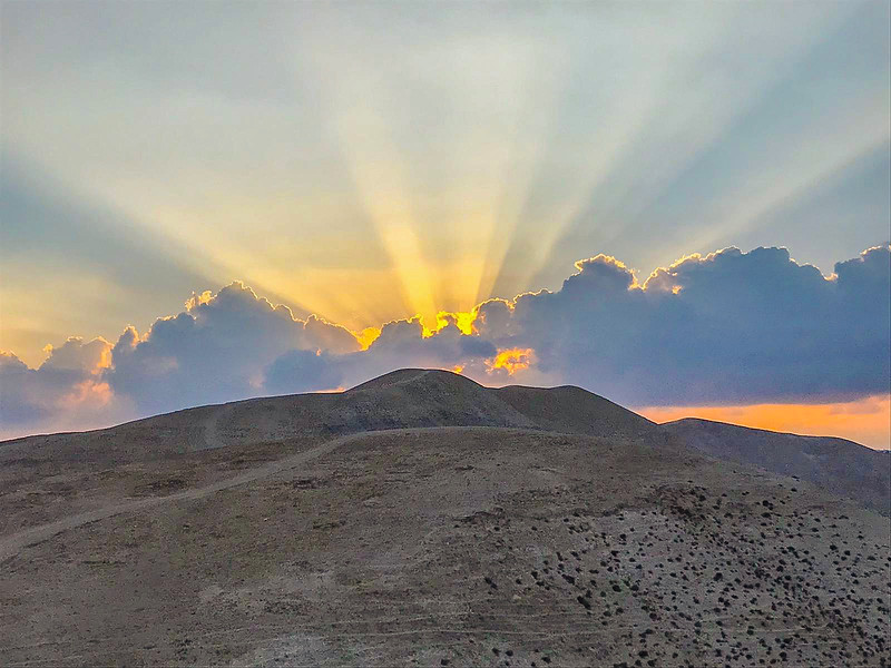 Sunset over the Judean wilderness at Wadi Qelt