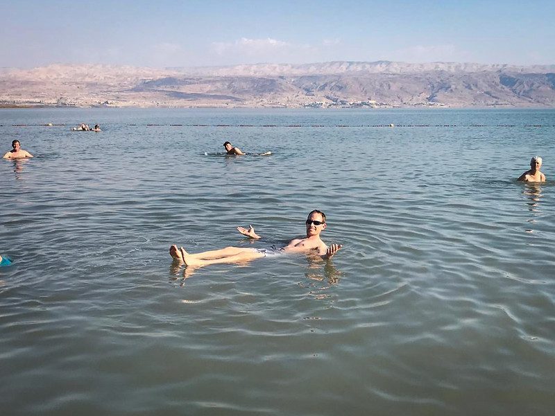 Seth floating in the Dead Sea