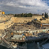 This is a panoramic view of the Temple Mount in Jerusalem.  The Western Wall of the old Temple is the holiest place on earth for Jews.  Above the Wall are the el-Aqsa Mosque and the golden Dome of the Rock, both among the holiest of places for Islam.   The rock is supposed to be that on which Abraham nearly sacrificed Isaac, and that from which Mohammed ascended to Heavan on a chariot.  And a short walk from the Wall brings you to the Church of the Holy Sepulchre, among the most holy places for Christianity.