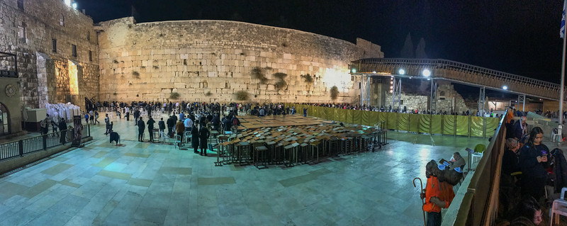 ...a fish eye view of the Western Wall at night.