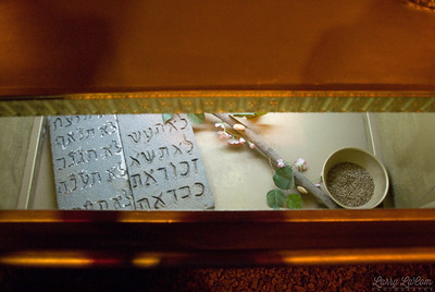 A view inside the ark of the covenant, showing the tablets of moses, Aaron's rod, and the bowl of manna