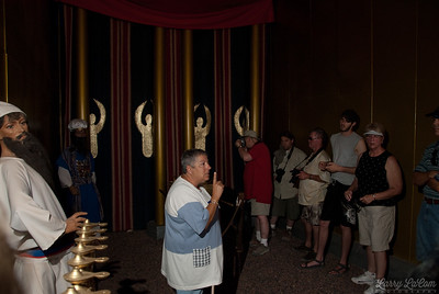 Inside the tent of meeting, with one of the priests (a mannequin) next to the golden lampstand.