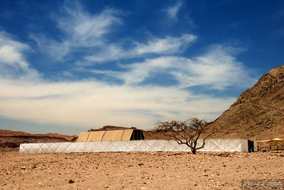 Exterior view of the tabernacle under the hot Israeli sky.