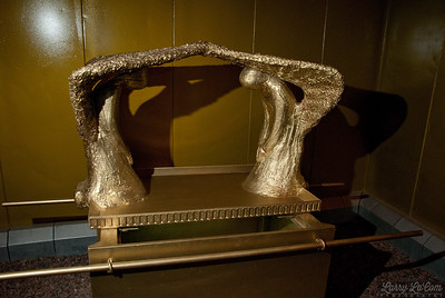 The ark of the covenant showing the mercy seat and the cherubim, inside the holy of holies