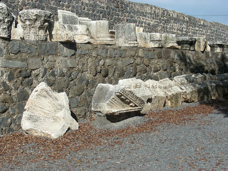 Capernaum -- where the archaeologists have uncovered the synagogue where Jesus taught at the beginning of his public ministry.  It was only 50 yards from the home of Peter's mother in law where Peter lived and where Jesus lived at the first part of his public ministry.