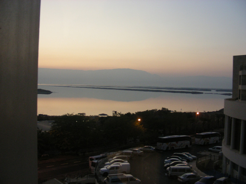 Early-morning sunrise over the Dead Sea, from our hotel room at the south end of the Dead Sea.  The mountains in the background are actually in Jordan.  Jordan separates Israel from Iraq.