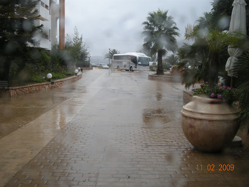 Rainy Day.... View outside Hotel Lobby. Neve Ilan
