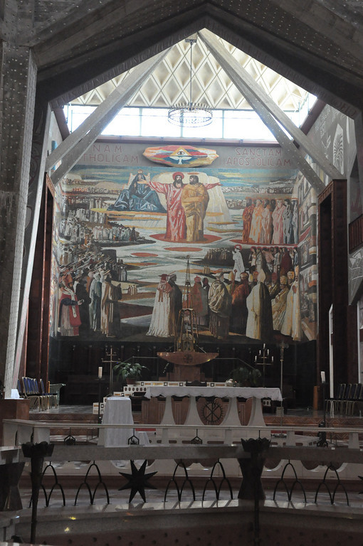 Altar and Story of Jesus Mural. The Basilica of the Annunciation