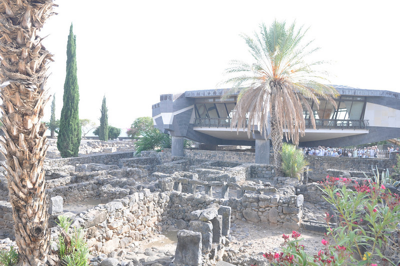 Ruins of old city Capernaum and the church