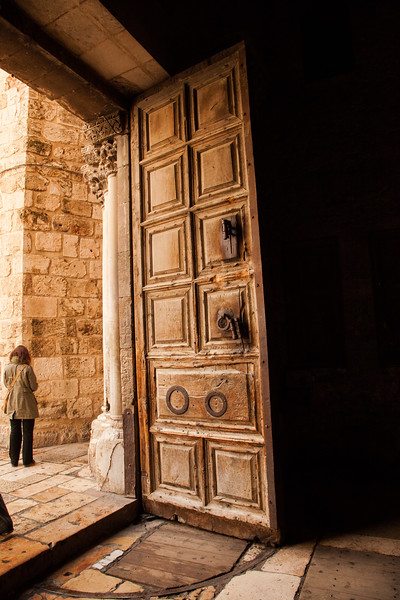 Famous door of the Church of the Holy Sepulchre.  One Arab family keeps the key; another Arabl family opens the door.  Why?  ...to minimize fighting among Christian sects trying to elbow for more room in the church.