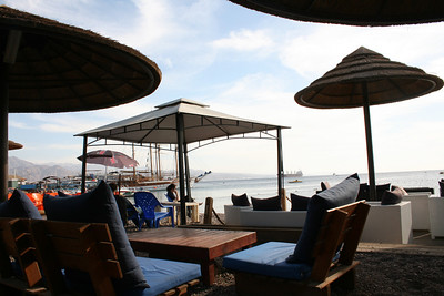 Relaxing on the beach in Eilat.