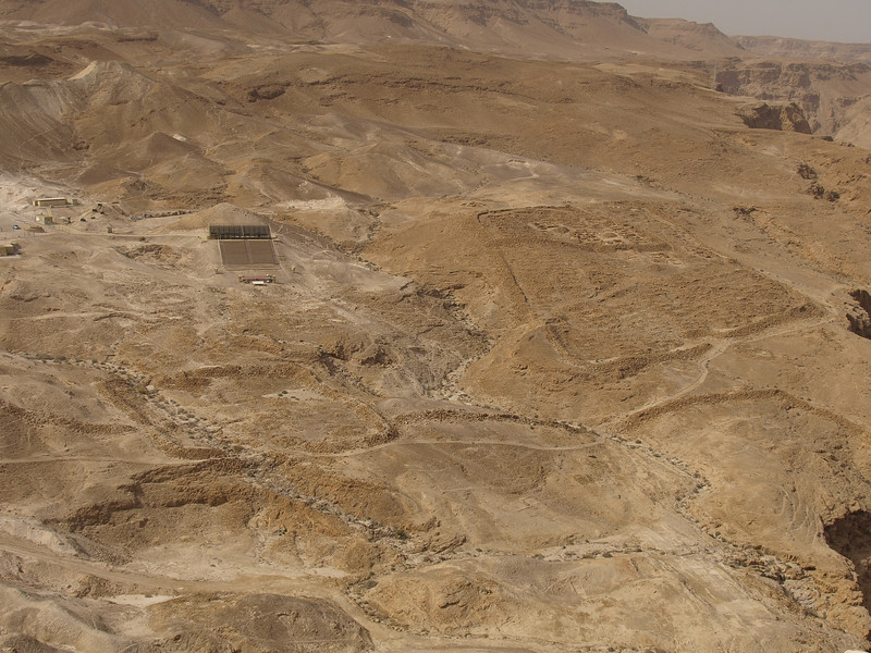 The remains of two Roman camps as seen from the Masada compound; comparing them to modern structures, you can see how huge they must have been, since they each had to support thousands of soldiers.