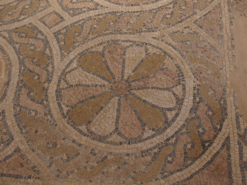 Detail of mosaic floor from Byzantine-era church at Masada