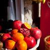 Israel Jerusalem village of Ein Karem - fruit pomegranates oranges and bananas for sale at a market