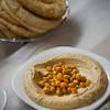 Israel Jerusalem restaurant - hummus with chick peas garbanzo beans with pita bread