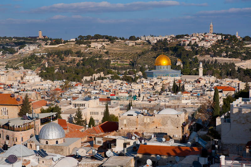 Israel, Old City of Jerusalem from the citadel, Overview with the Dome of the Rock near center (gold) and the Church of the Holy Sepulchre (Silver dome, near left)
