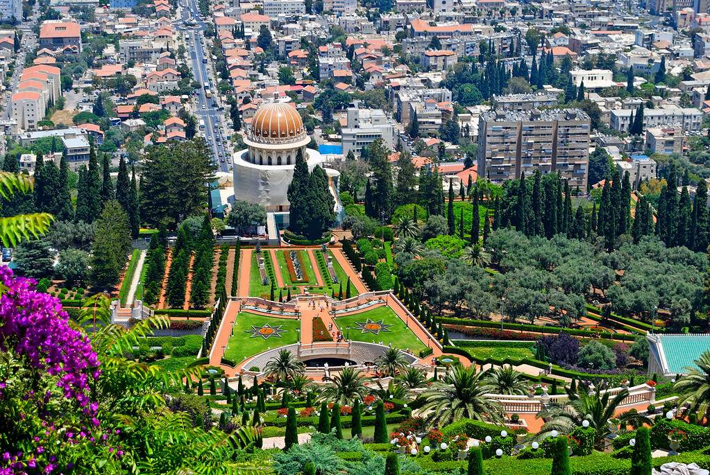 Baha'i Shrine and Gardens, Haifa  vista do Monte Carmelo