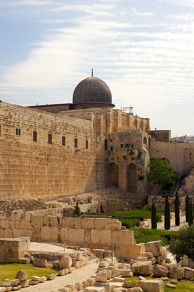 The view of the South wall of the Temple mount from close to the Dung Gate.