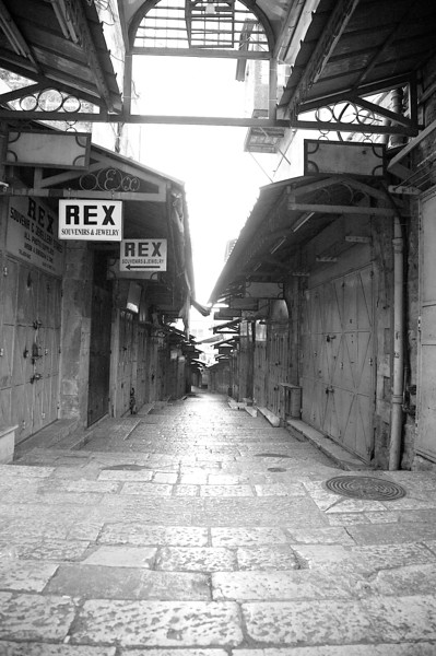 The entrance to the old Cardo Market in the old city before opening.