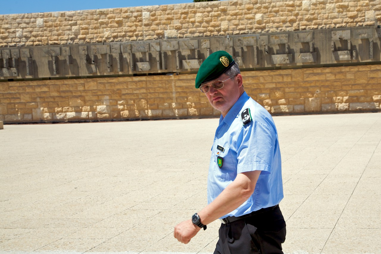 That is a German officer touring the Yad Veshem.  Thought it made for an interesting picture.