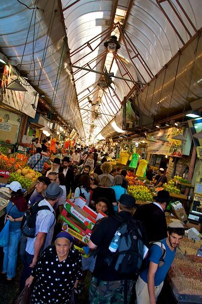 Busy Market in downtown Jerusalem.