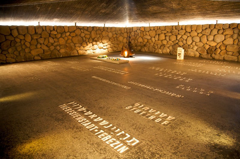 The memorial for the dead.   The names of the 20 death camps the jews were murdered in.