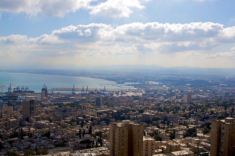 Haifa harbor from the top of Mt. Carmel but during the day.