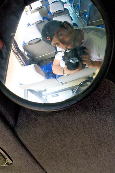 Self portrait in a dirty mirror.