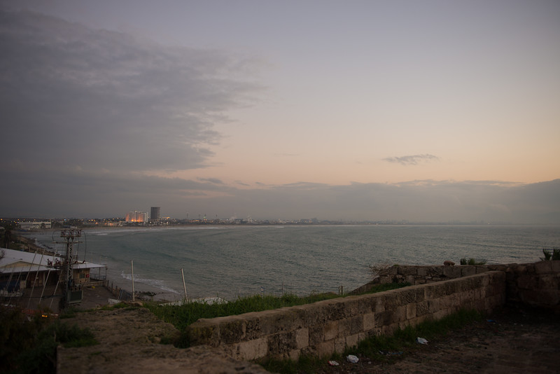 from the wall of the old city, overlooking the sea at dusk