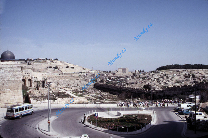 The Mount of Olives on the left as see from Jerusalem.