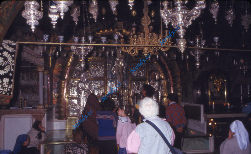 Glass cover over the actual rock that the cross was placed on when they crucifed Jesus.   The Church of the Holy Sepulcher was built on top of the rock as a memorial to the most important event in all of history.