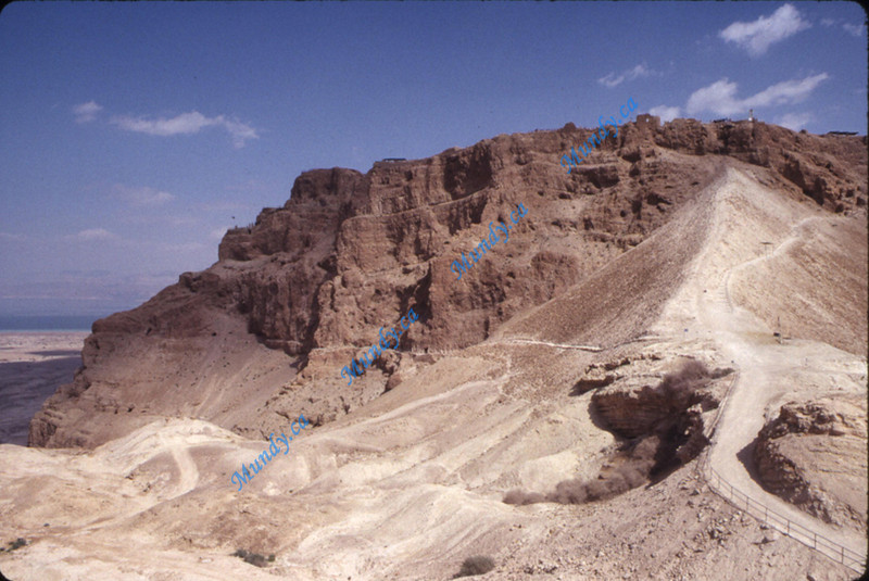 The back side of Masada.  This is the ramp the Roman Soldiers built to get access to the top.  They forced Jewish people to break in knowing the Jewish people holding out would not harm their own people.