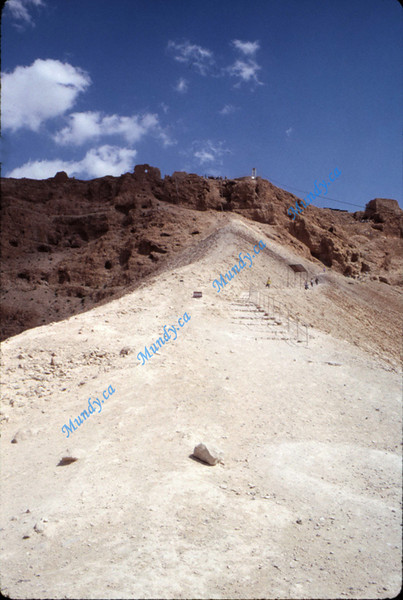 This is the ramp on the back side of Masada that the Romans built to get up to the top.