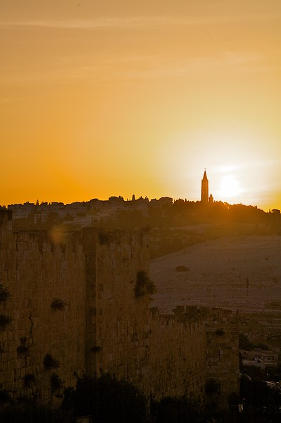 Shooting the sunrise over East Jerusalem from the old city wall.