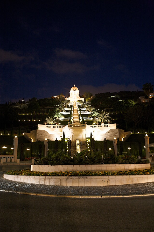 Bahai Temple at night.