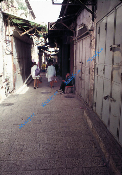 Stores locked up because of the first intifada.