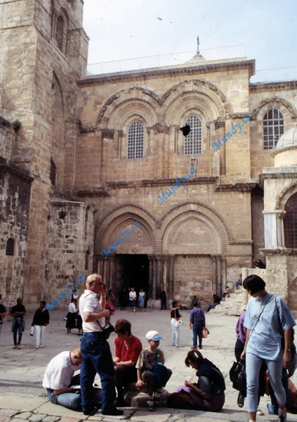 Entrance to The Church of the Holy Sepulchre.  This chuch was built over top of Golgotha - the skull shaped rock upon which Jesus was crucified.  See my photos of this rock in photos further on where I captured the miniature model of Jerusalem in the time of Jesus.