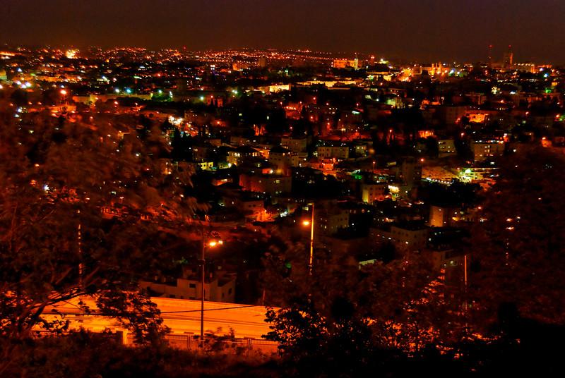 vista nocturna de Jerusalém desde o Monte das Oliveiras