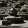 Dome of the Rock model, with the real one shining in the background<br /> Jerusalem