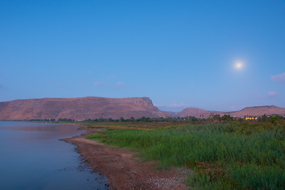 Mount Arbel with moon at sunrise