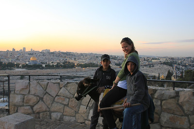 Mount of Olives - We met two young boys who insisted Melanie ride their little donkey after we gave them a couple of coins to take their picture.