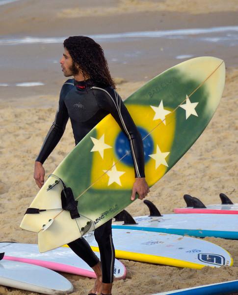 Brazilian surfer on Tel Aviv Beach