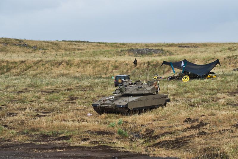 Israeli Tank Near the Golan Heights