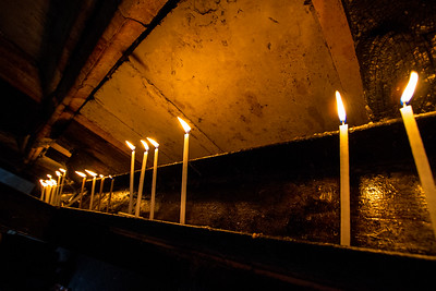 Lit Candles at the Church of the Holy Sepulchre