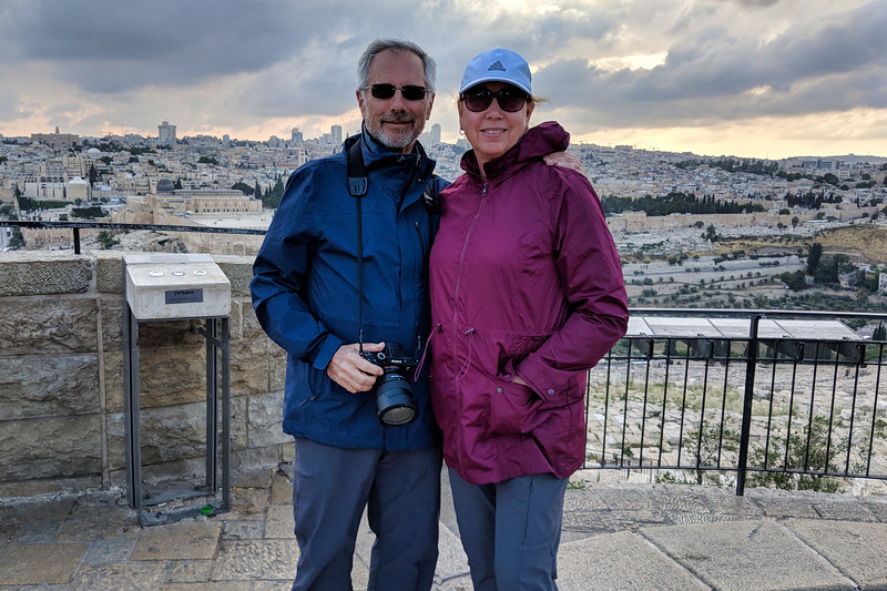 John and Debra at Mount of Olives Overlook